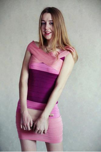 Vestido Rosado Entallado Spandex Talla S Importado En Stock