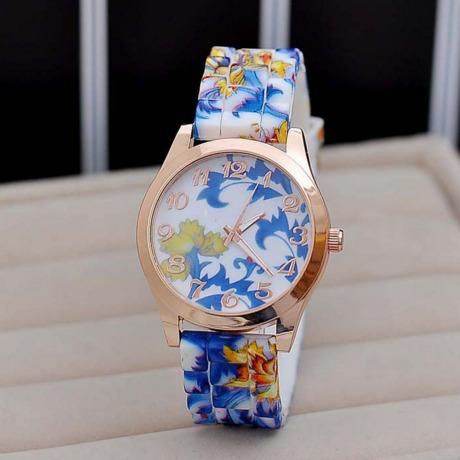 Relógio Flores Floral Azul Pronta Silicone Entrega