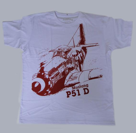 Camisetas Estampas Aviação Modelo P51 - Kit 3 Peças