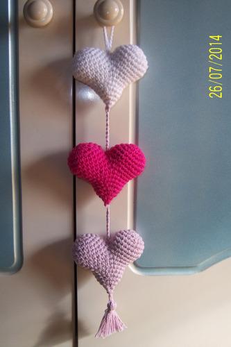 Colgantes Moviles Corazones Tejidos Al Crochet