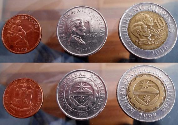 Filipinas Set De 3 Monedas Muy Buen Estado