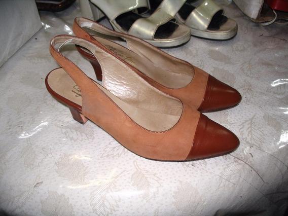 Sandalias Zapatos Mujer 38 Nobuk Taco 6 Cms Vestir Cuero