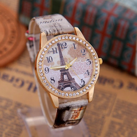 Relógio De Couro Vintage Quartz Moda Torre E Flowers