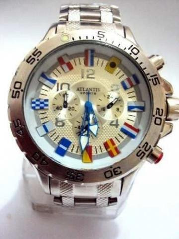 2 Relógios Atlantis Flags - Branco, Novo Sem Uso - Em Aço -