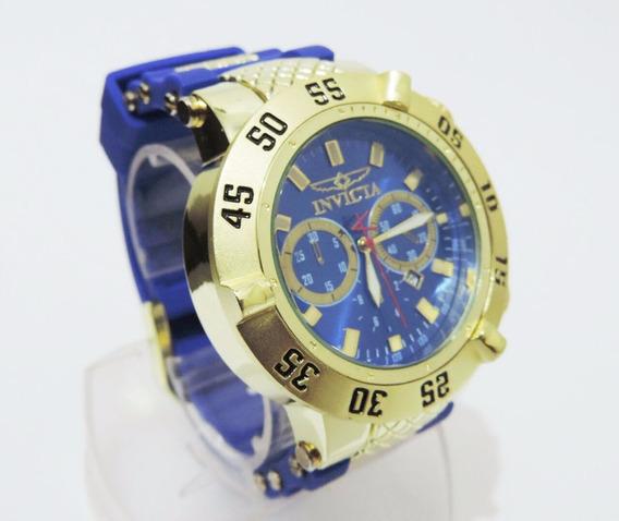 Relógio Masculino Dourado Grande Pesado
