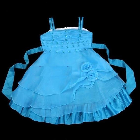 Vestido Infantil Festa Amarelo Ou Azul