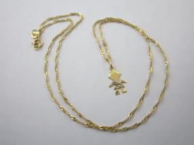 Delicado Colar Com Pingente Menina - Ouro 18k - 1.42gr