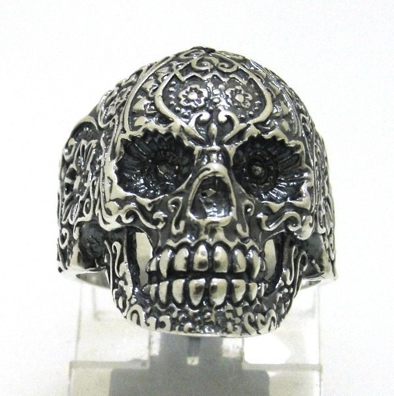 Anel Prata De Lei 950 Cranio Skull Trabalhado - Ma2130