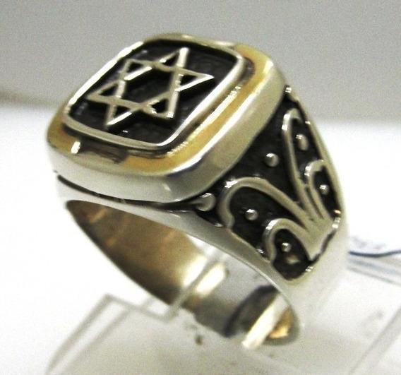 Anel Estrela David Prata Lei 925 Com Ouro Hexagrama 6 Pontas