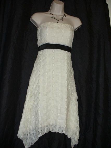 Vestido Strapless Color Marfil Importado Talle M Con Lazo