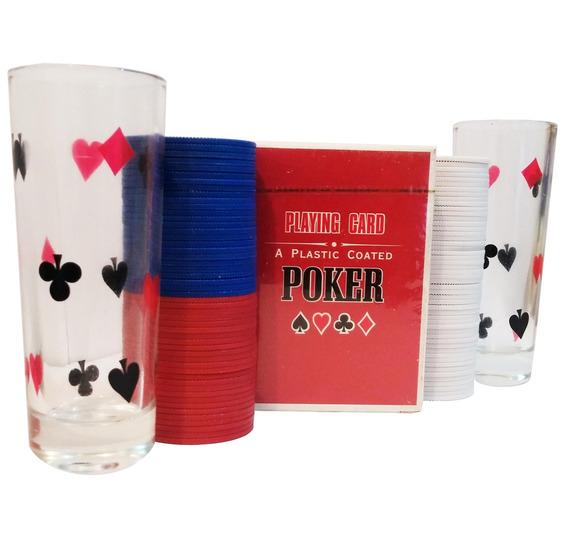 Jogo De Poker 1 Deck De Baralho 100 Fichas E 2 Copos 13707