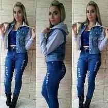 Conjunto Calça Jaqueta Jeans Moleton Luxo Frete Gratis