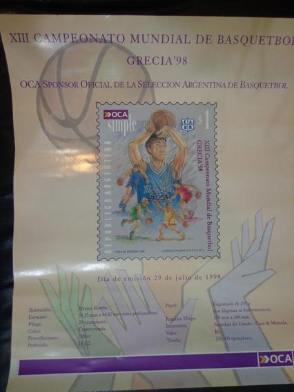 Afiche Del Correo Oca Publicidad Estampilla De Basquet