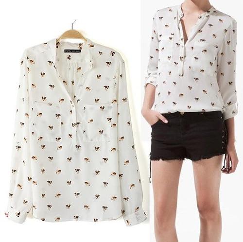 Blusa Blanca Diseño Perritos Talla M Nueva Importada