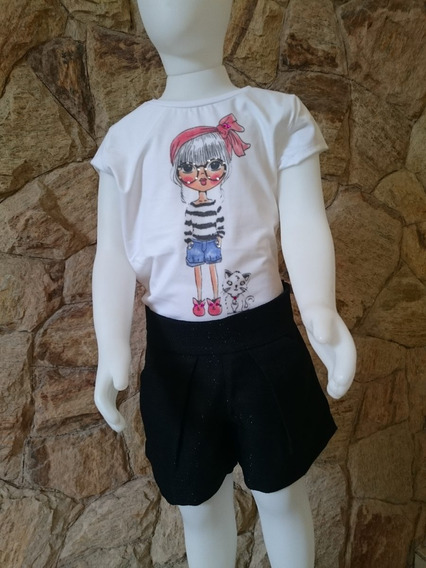 Conjunto Infantil Festa Com Short Bolero E Camiseta