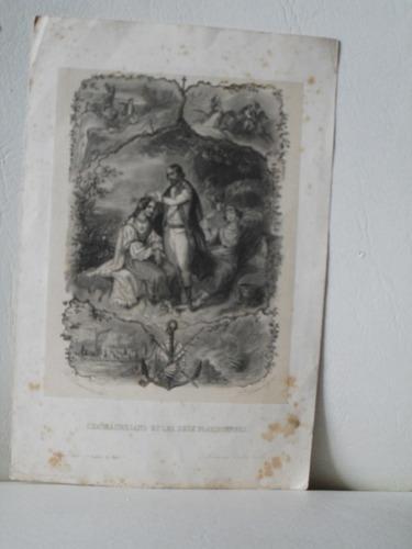 Grabado. ¿chateaubriand Et Les Deux Floridiennes.