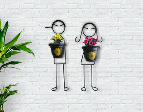 Suporte Para Plantas Casal Menino Menina