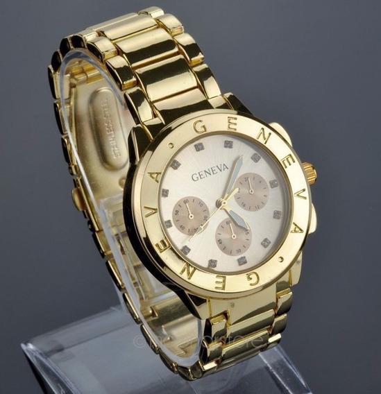Relógios Homens Luxo Geneva Dourado Relógio De Quartzo