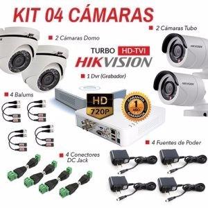 Kit De 4 Camaras  De Seguridad Hikvision Hd - Entrega Inmedi