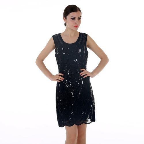 Vestido Talla M De Fiesta Negro Con Lentejuelas Nuevo