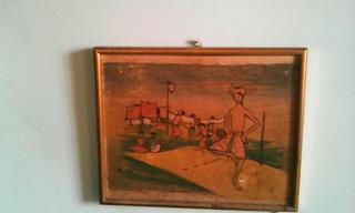 Cuadro Ingenuo Con Su Marco Es Vintage