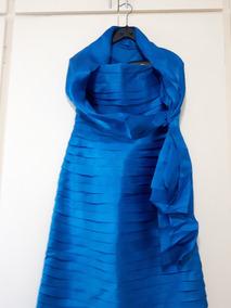 Vestido Tafeta Festa Em Pregas Azul Royal
