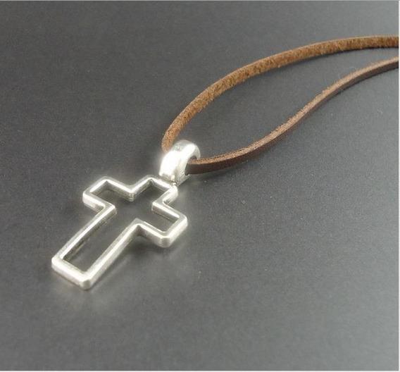 Colar Masculino Ou Feminino Couro Genuíno Crucifixo Pr
