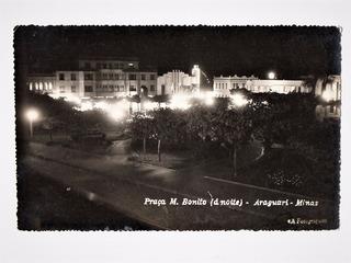 Cartao Postal Fotografico Araguari Mg Vista Noturna Anos 40
