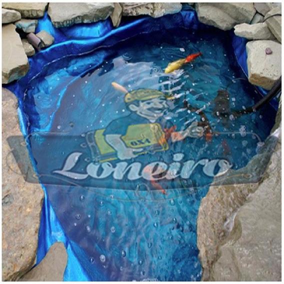 Lona Plástica Azul 3x3 Lago Tanque Peixes Cisterna 300micras