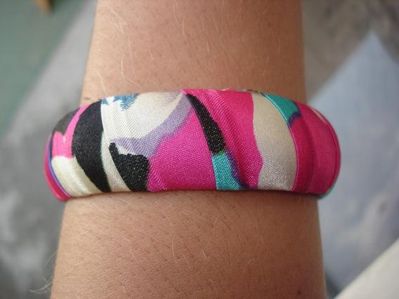 Pulseira Bracelete Gioconda De Tecido Cetim Colorida Larga