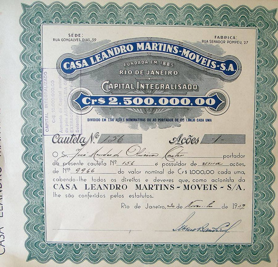 Apólice Casa Leandro Martins Móveis 1959 Nº 156