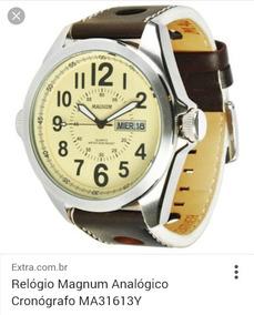 Relógio Magnum Mod. Ma31613y Pulseira Couro, 2 Calendários