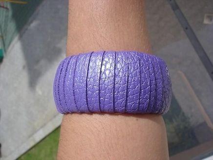 Pulseira Bracelete Gislene Roxa De Tecido Larga
