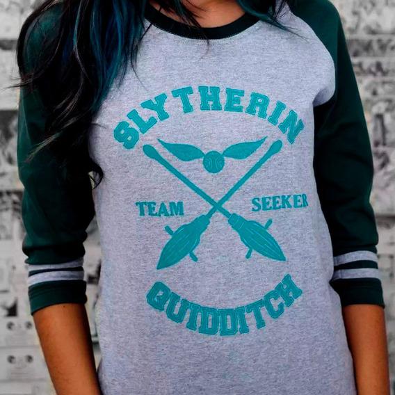 Camiseta Feminina Raglan Quadribol Sonserina Harry Potter