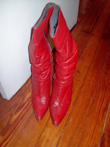 Aurojul- Botas Rojo Lacre-caña Alta.taco Chino Nª38