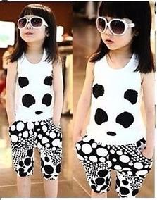 Conjunto Oso Panda Niña Moda Asiática