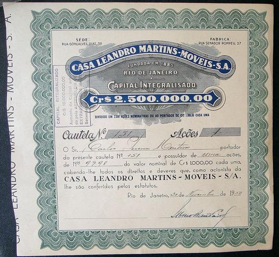 Apólice Casa Leandro Martins Móveis S/a 1950 Nº 151