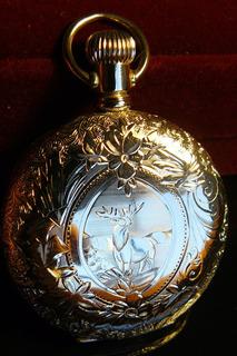 Fino Reloj Antiguo Oro Solido 3 Tapas Hampden 1888 Bolsillo