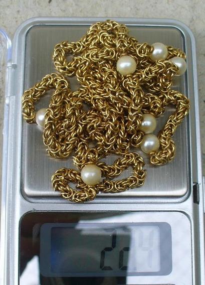 Bela Corrente Colar De Ouro Pérolas Com 22gr E 79cm