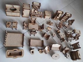 Kit Moveis Para Casinha Boneca Polly Mdf - 46 Moveis
