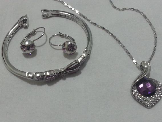 Conjunto De Colar, Brincos E Bracelet Banhado A Prata