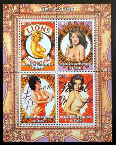 Congo Arte, Bloque 4 Sellos Mel Ramos 2005 Mint L7493