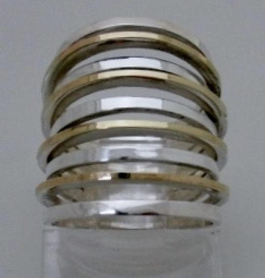 Anel Grande Prata De Lei E Ouro Com 9 Filetes Feminino A1096