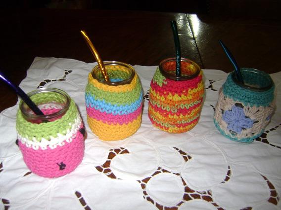 Mates De Vidrio Con Funda Tejidas Al Crochet