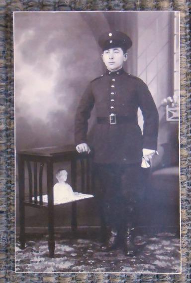 Foto Postal Soldado Uniforme Escuela Comunicaciones Año 1930