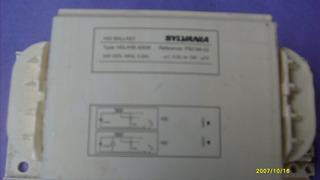 Hid Ballast Type: Hsl/hsi 400 208-220v. 60hz 3,25a