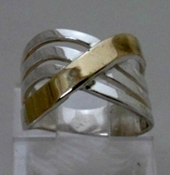 Anel Feminino Maçico Em Prata 925 E Filetes De Ouro - A1245