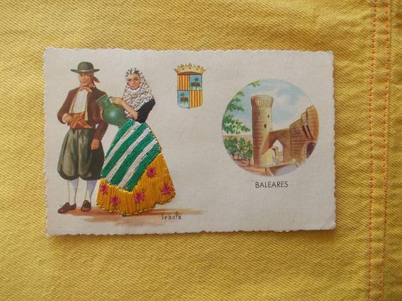 385-postal Baleares, España. Año 1953. Bordada, Relieve