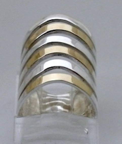 Anel Feminino 6 Fios Prata 925 E Ouro - A1270.
