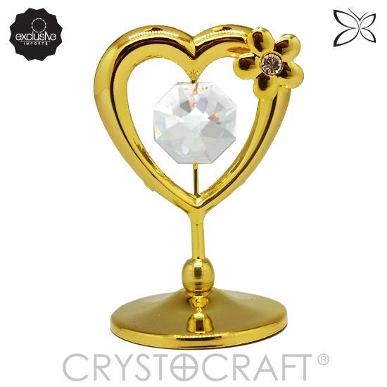 Coração Em Ouro 24k Com Cristais Swarovski